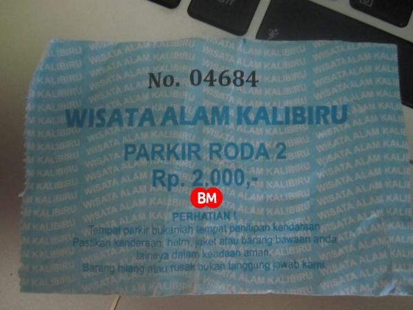 tiket parkir di kalibiru