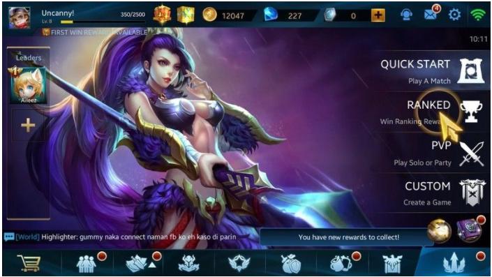 tampilan menu Heroes Evolved