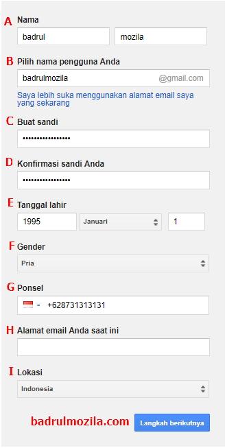 cara membuat email gmail isi form
