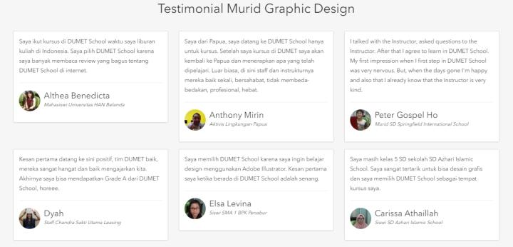 Testimonial Kursus Desain Grafis Dumet School