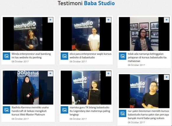Testimoni Belajar Online di Baba Studio