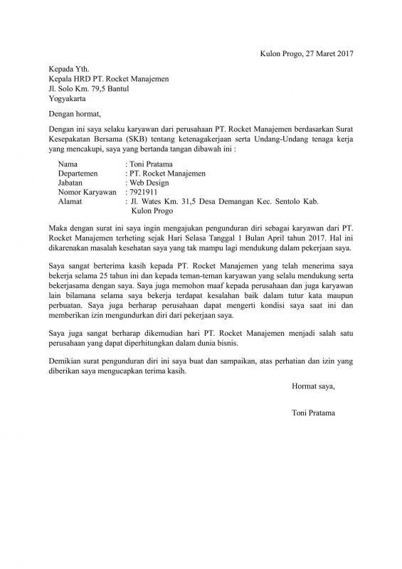 contoh surat pengunduran diri resign resmi dan benar
