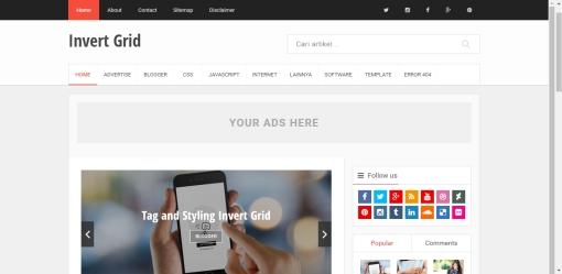 Daftar Template Blogger Responsive Invert Grid Friendly Terlengkap