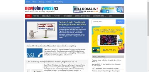 Daftar Template Blogger Responsive New Johny Wuss V3 Friendly Terlengkap